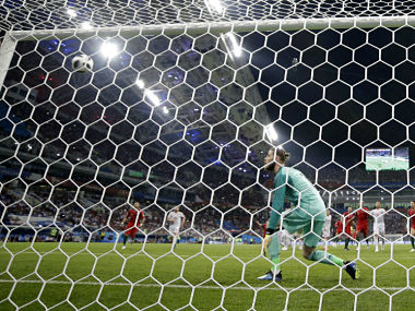 File image of action from the Spain vs Portugal match where Cristiano Ronaldo converted the first penalty in the World Cup past a hapless David De Gea. AP