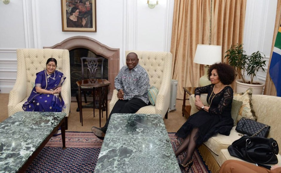 External Affairs Minister Sushma Swaraj met South African president Cyril Ramaphosa and Minister of International Relations Lindiwe Sisulu for dinner on Sunday at the Sefako Makgatho guesthouse. The trio discussed enhanced co-operation between the two nations in a number of fields including the likes of agriculture and information technology. Twitter@RuchirajKamboj