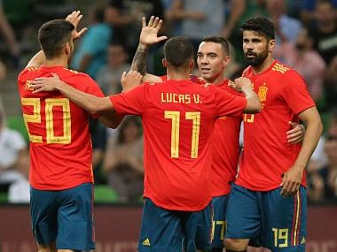 Spain required a 85th minute winner from Iago Aspas to edge past Tunisia in World Cup warm-up game. AP