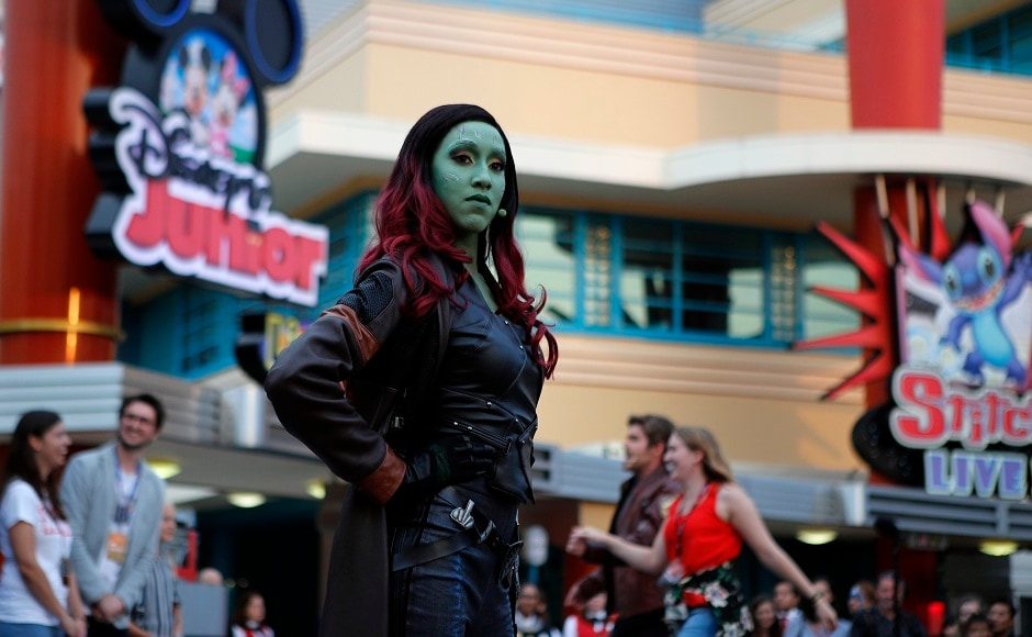 The character of Gamora from <em>Guardians of the Galaxy</em> performs with the guests during the opening show at Disneyland Paris at the launch of the first Avengers-themed season at Disneyland Paris. AP Photo/Francois Mori