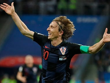 Croatia's Luka Modric celebrates after scoring his side's second goal during the group D match between Argentina and Croatia at the 2018 soccer World Cup in Nizhny Novgorod Stadium in Nizhny Novgorod, Russia, Thursday, June 21, 2018. (Modric scored once in Croatia's 3-0 victory. (AP Photo/Ricardo Mazalan)
