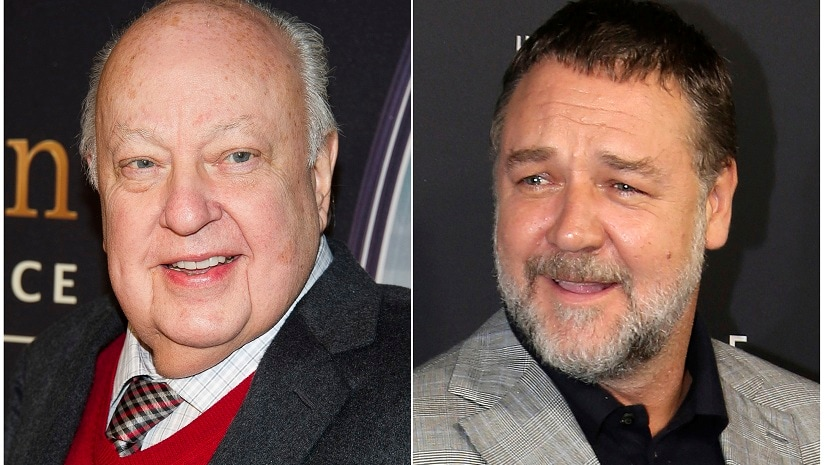 "This combination photo shows Roger Ailes at a special screening of ""Kingsman: The Secret Service"" in New York on Feb. 9, 2015, left, and actor Russell Crowe at the Australian premiere of his movie ""The Mummy"" in Sydney on May 22, 2017. Crowe will portray Ailes in a new Showtime series about the late Fox News founder. The eight-episode series is based on ""The Loudest Voice In The Room"" by Gabriel Sherman. (AP Photo)"