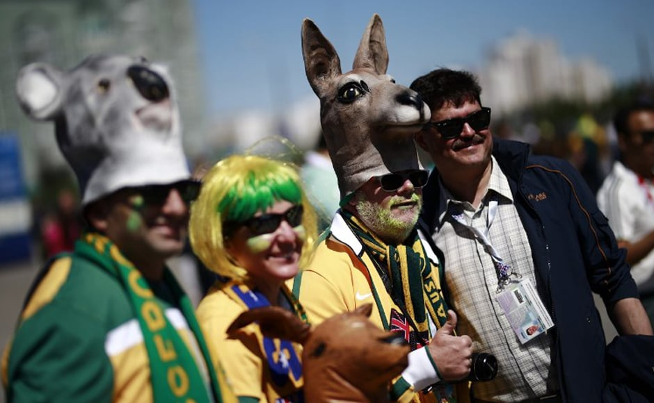 Australia supporters gather outside the Kazan Arena, in Kazan on 16 June, 2018 during the Russia 2018 World Cup football tournament. AFP