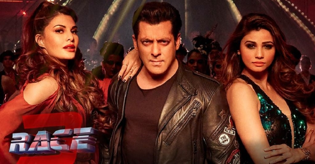 Jacqueline Fernandez, Salman Khan and Daisy Shah in a still from Race 3