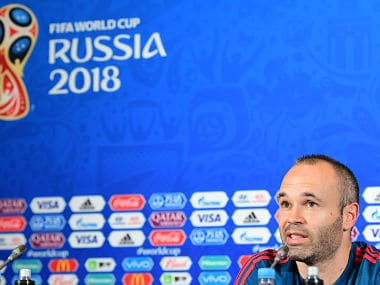 Spain's midfielder Andres Iniesta attends a press conference in Kazan ahead of their Group B match against Iran. AFP