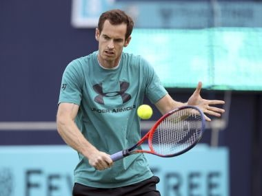 Andy Murray practices during a training session at the Queen's Club. AP