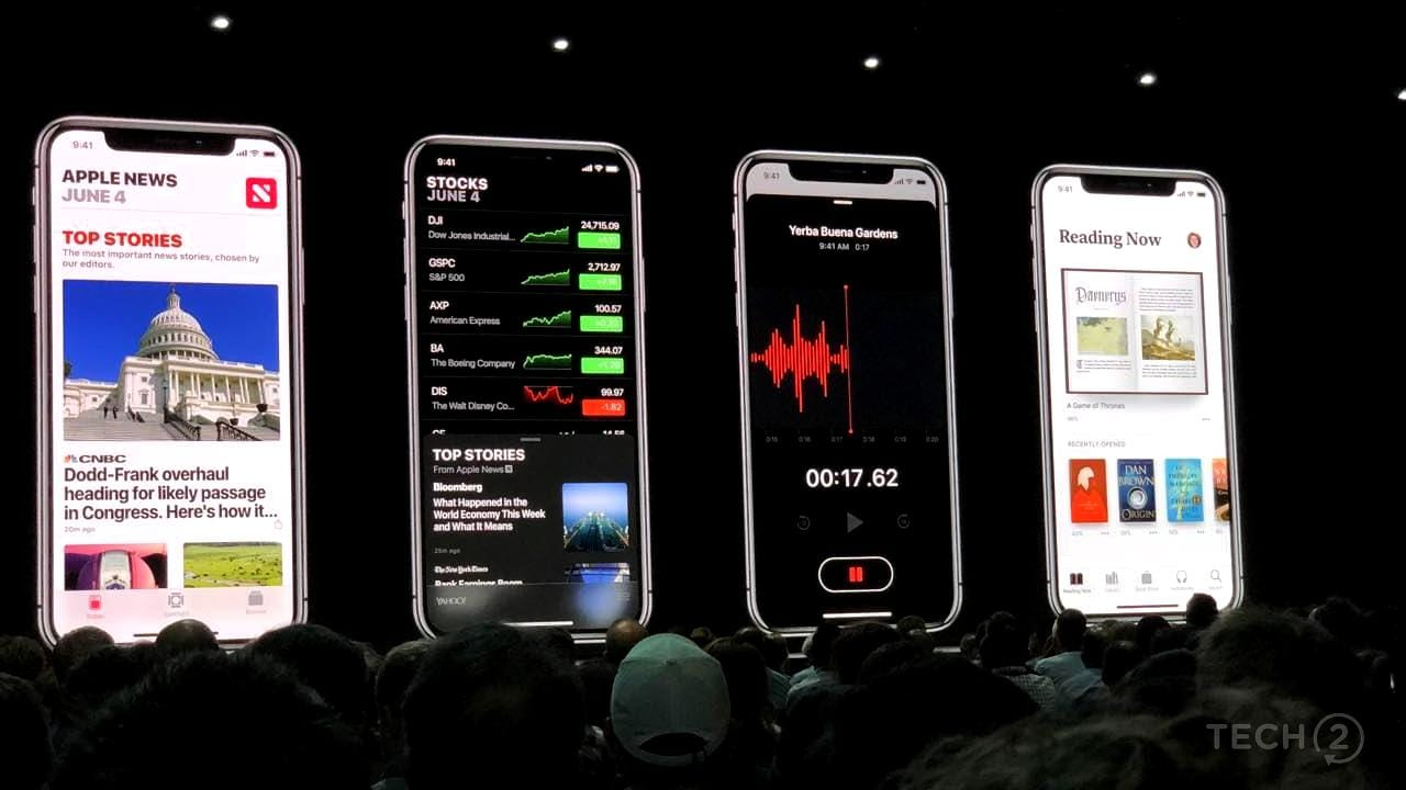 New Apple Stocks, Voice Recorder and Apple Books apps at WWDC 2018. Image: tech2/Nimish Sawant