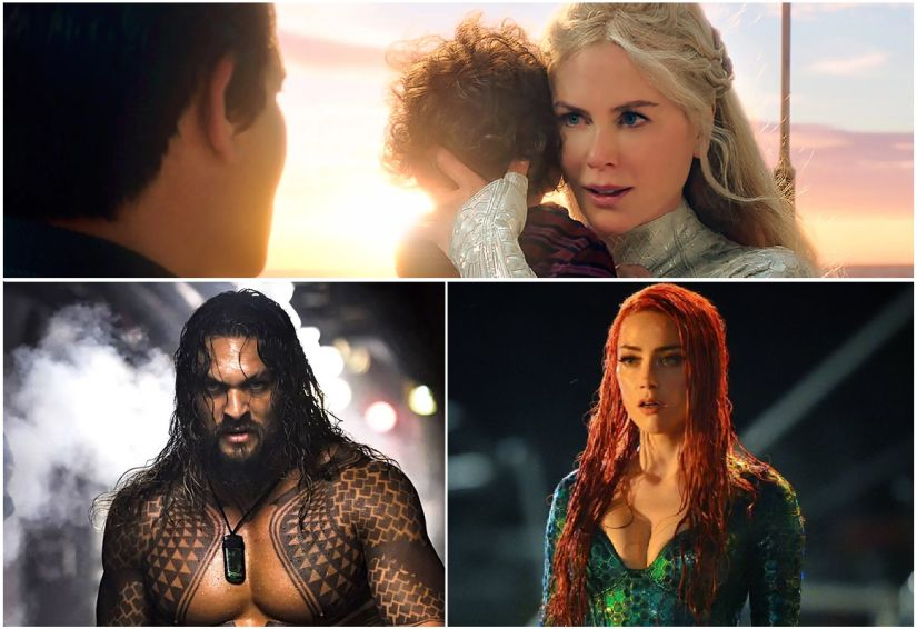 First look images of Nicole Kidman (top), Jason Momoa (L) and Amber Heard (R). Image via Twitter