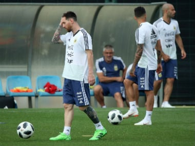 The Argentinian squad practices ahead of the World Cup. Reuters