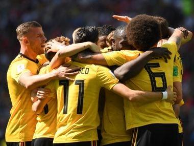 Belgium's players celebrate the opening goal against Tunisia at the Spartak Stadium. AFP