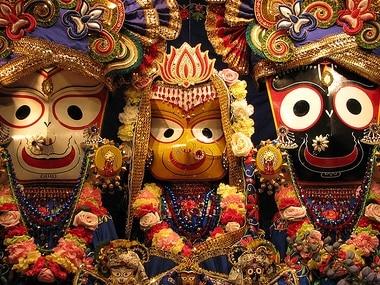 File image of the trinity of Hindu gods Jagannath, Balabhadra and Subhadra worshiped during the Rath Yatra. Wikimedia Commons