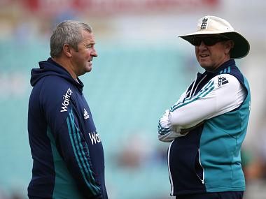 England head coach Trevor Bayliss and assistant coach Paul Farbrace. Reuters