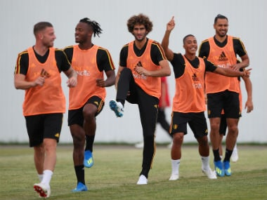 Members of the Belgium squad train ahead of their opening clash against Panama. Reuters