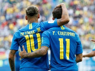 Philippe Coutinho celebrates scoring their first goal with Neymar. Reuters