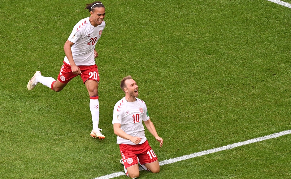 Denmark's midfielder Christian Eriksen celebrates his goal during the World Cup Group C football match between Denmark and Australia at the Samara Arena. AFP