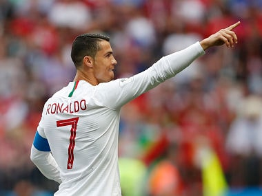 Portugal's Cristiano Ronaldo celebrates after scoring the opening goal against Morocco in Luzhniki Stadium in Moscow. AP