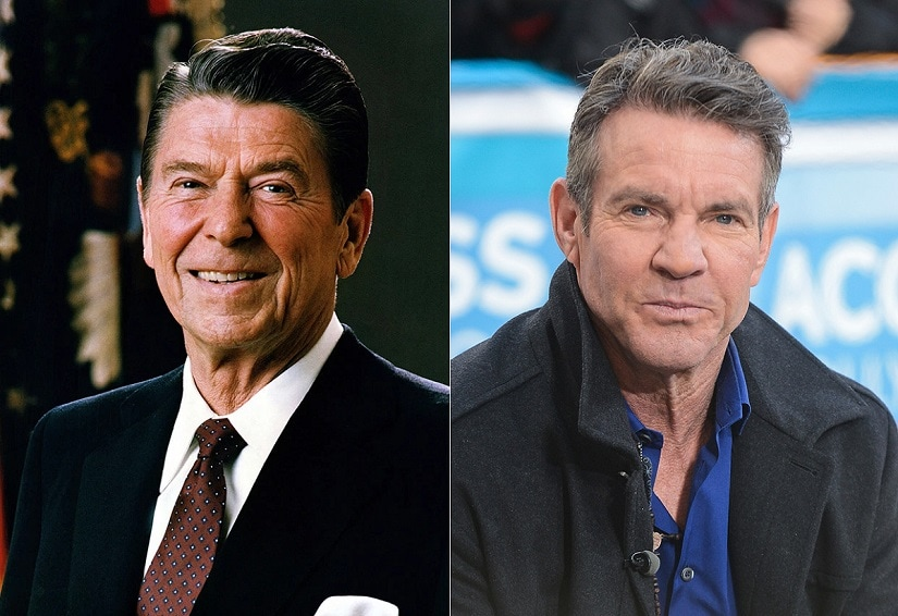 Ronald Reagan (L) and Dennis Quaid. Image via Twitter