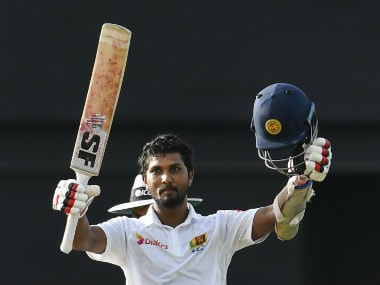 Dinesh Chandimal of Sri Lanka celebrates his century (100 runs) during day 1 of the 2nd Test between West Indies and Sri Lanka at Daren Sammy Cricket Ground. AFP