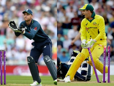 England's stand-in captain Jos Buttler and Australaia captain Tim Paine. AP
