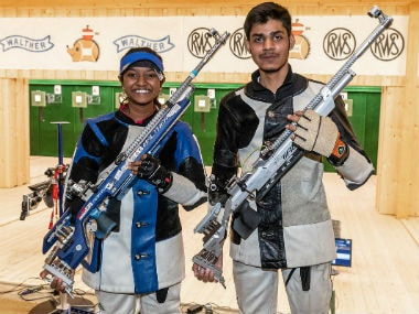 Elavenil Valarivan and Divyansh Singh Panwar grabbed India's 10th gold on the final day. Image credit: Twitter/@ISSF_Shooting