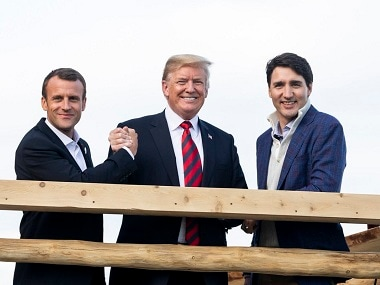 Emmanuel Macron, Donald Trump and Justin Trudeau at the G7 summit. Courtesy: Twitter/@realDonaldTrump