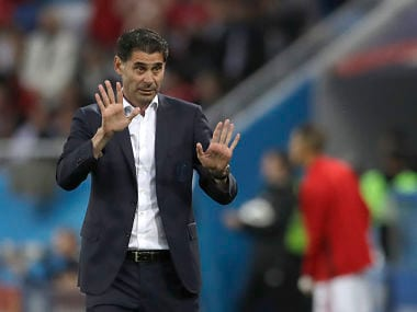 Spain head coach Fernando Hierro gestures during the group B match against Morocco. AP