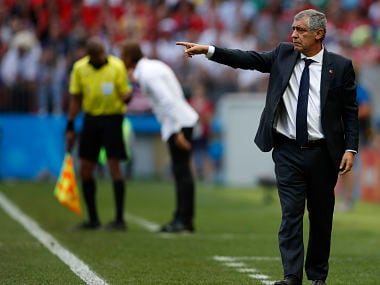 Portugal head coach Fernando Santos gestures during the group B match between Portugal and Morocco. AP