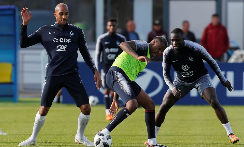 France's Steven Nzonzi, Presnel Kimpembe and Benjamin Mendy during their training. Reuters