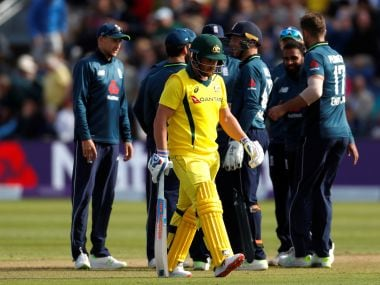 Australia's Aaron Finch walks off after losing his wicket in the second ODI in Cardiff. Reuters