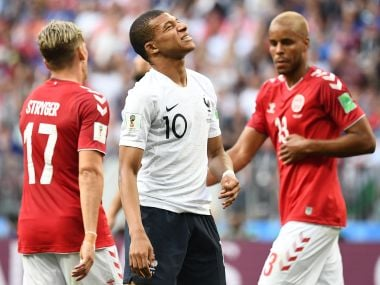 France's forward Kylian Mbappe gestures during the Russia 2018 World Cup Group C football match between Denmark and France at the Luzhniki Stadium in Moscow on June 26, 2018. / AFP PHOTO / FRANCK FIFE / RESTRICTED TO EDITORIAL USE - NO MOBILE PUSH ALERTS/DOWNLOADS