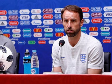 England head coach Gareth Southgate answers a question during a press conference at the 2018 FIFA World Cup at the Kaliningrad stadium. AP