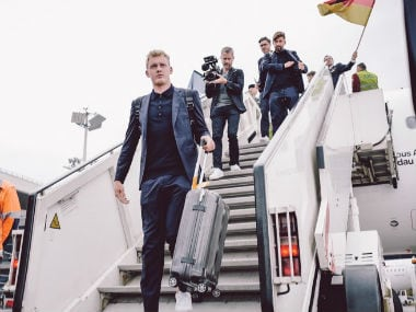 The Germans arrive at Moscow. Image credit: Twitter/@DFB_Team