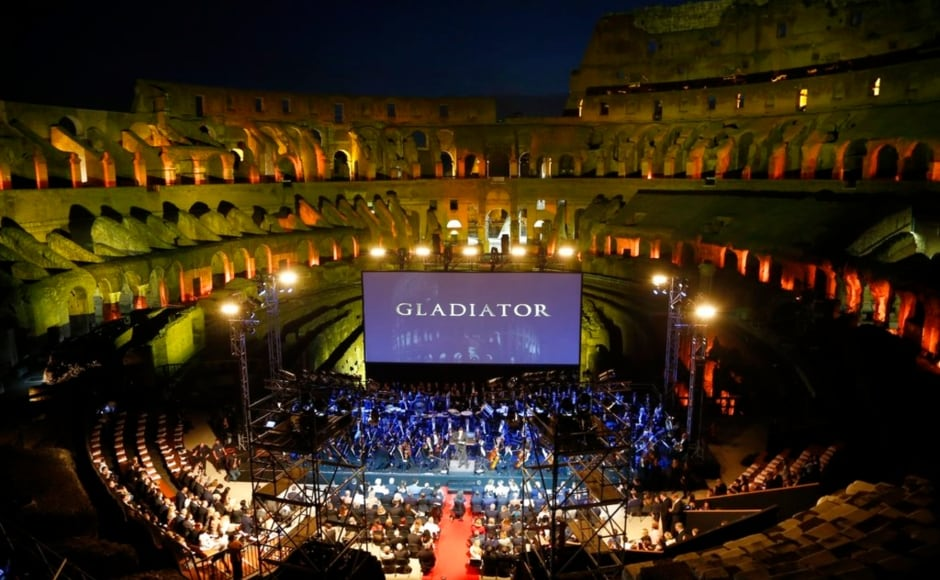 Screening of the blockbuster Gladiator at the Colosseum in Rome on Wednesday. Image from AP/Domenico Stinellis