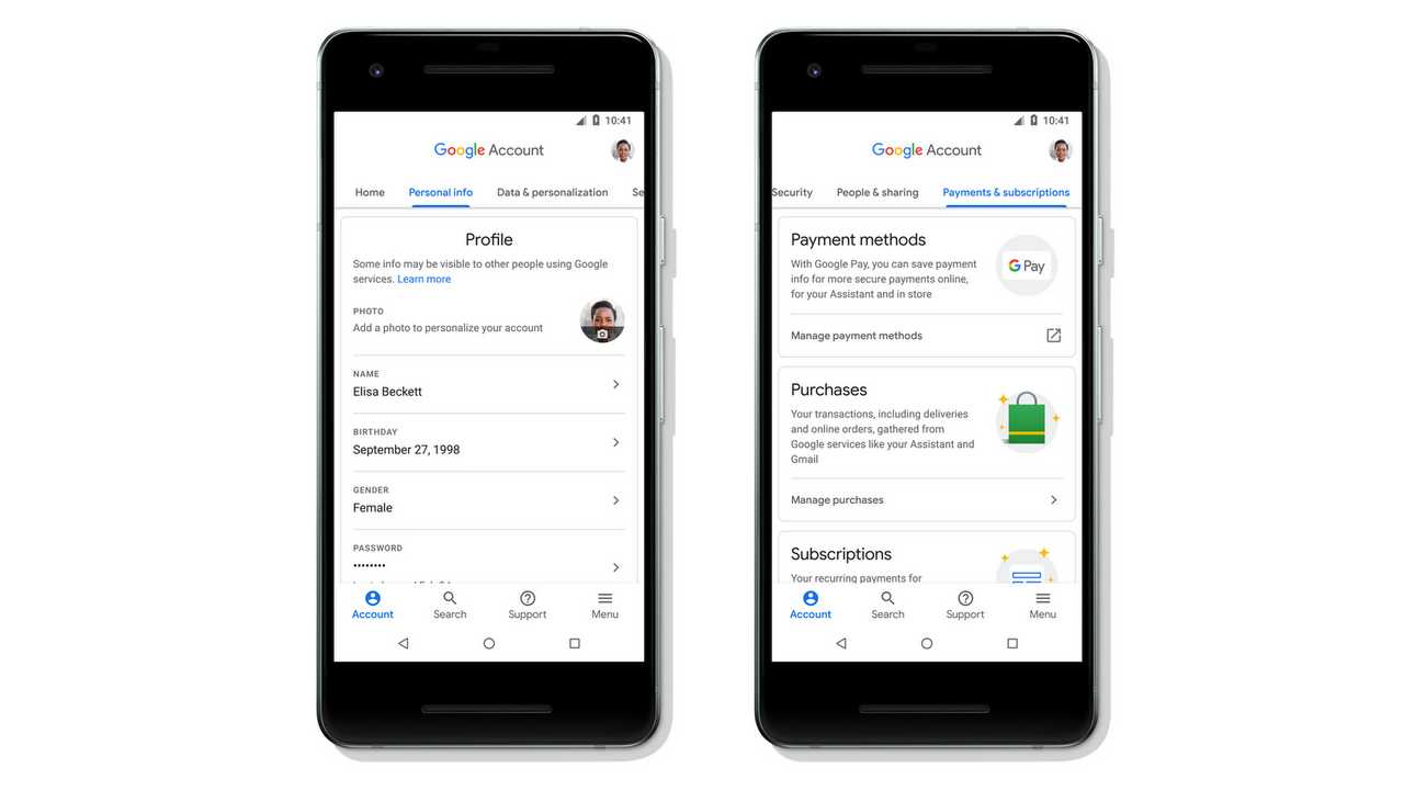 Google Android account management. Image: Google