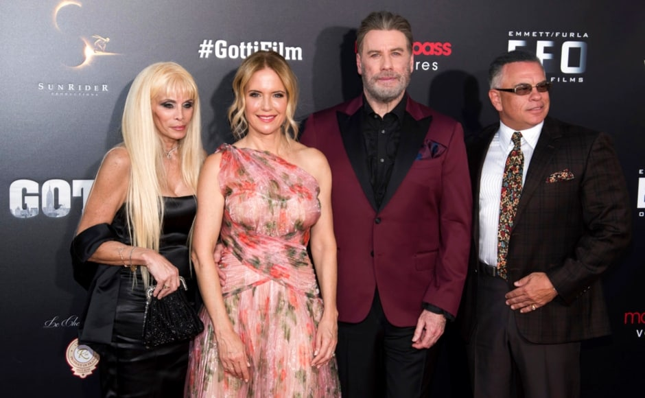 Victoria Gotti, Kelly Preston, John Travolta and John Gotti, Jr attend the premiere of Gotti at the SVA Theatre on 14 June, 2018, in New York. The Associated Press/ Charles Sykes