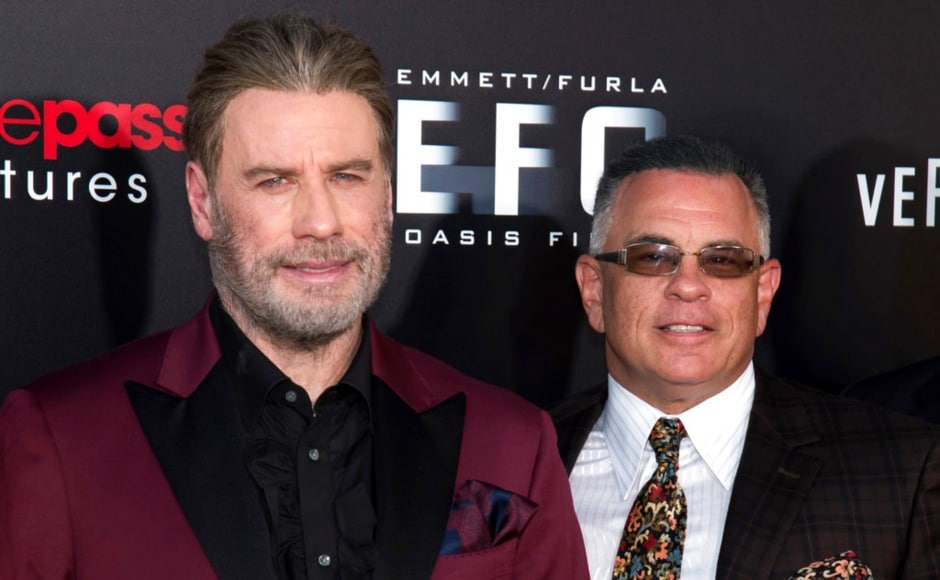 John Travolta and John Gotti Jr pose for a photograph at the New York premiere of Gotti, based on the life of the boss of the Gambino crime family. The Associated Press/ Charles Sykes
