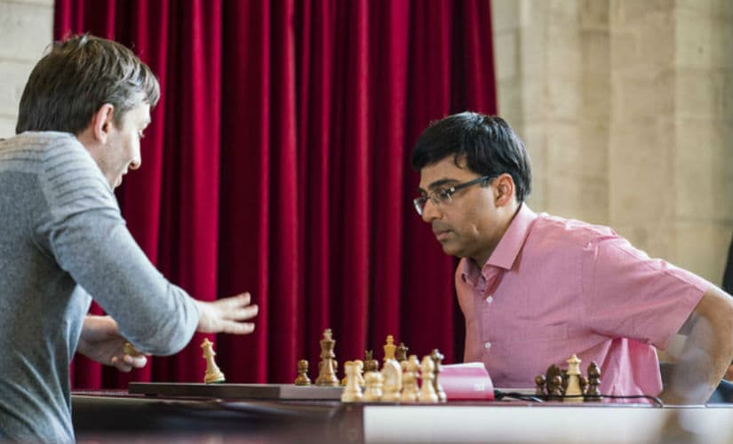 Grischuk and Anand, moments after their game. Image credit: Lennart Ootes