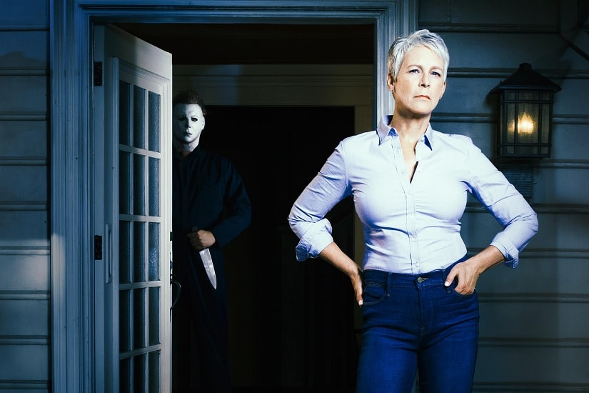 Mike Myers and Laurie Strode in the first look photo of Halloween. Image via Twitter