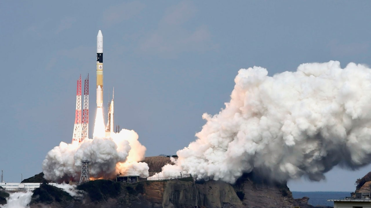 A H-IIA rocket carrying Hayabusa 2 space probe blasts off from the launching pad at Tanegashima Space Center on the Japanese southwestern island of Tanegashima iin 2014. Reuters