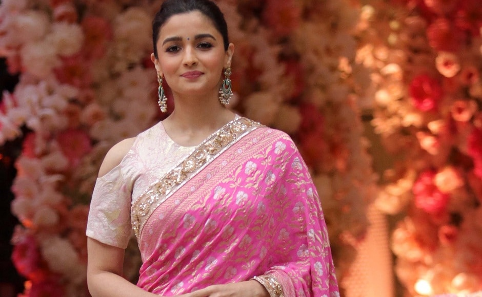 Alia Bhatt looked resplendent in an embellished pink saree at Akash Ambani and Shloka Mehta's engagement party. Firstpost Photo/Sachin Gokhale