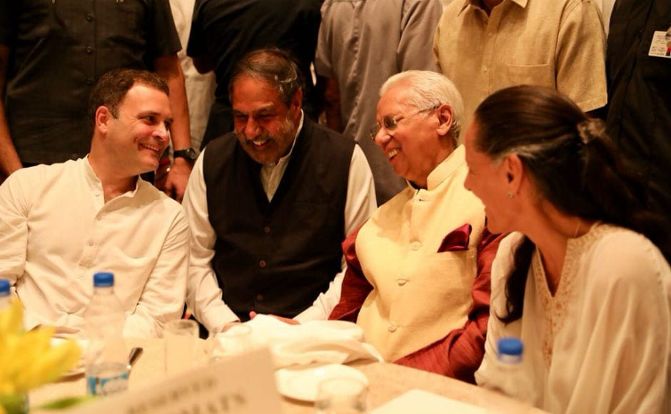 This is the first iftar hosted by Gandhi as Congress president. He is seen accompanied here by former minister Anand Sharma. Image courtesy: @RahulGandhi/Twitter
