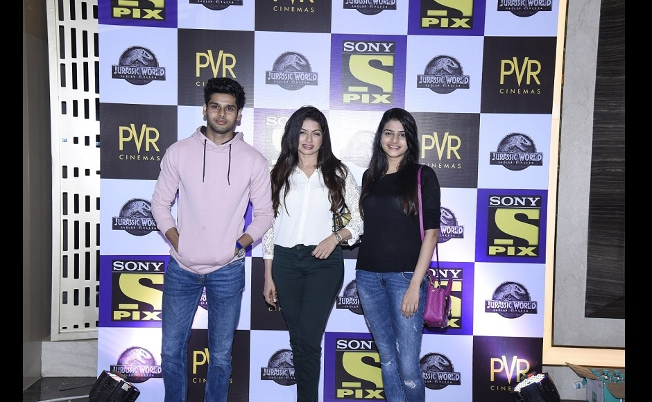 Spotted at 'Sony PIX Premiere Nights' screening of Jurassic World Fallen Kingdom was actor Bhagyashree with her son, Abhimanyu who is ready to make his Bollywood debut soon