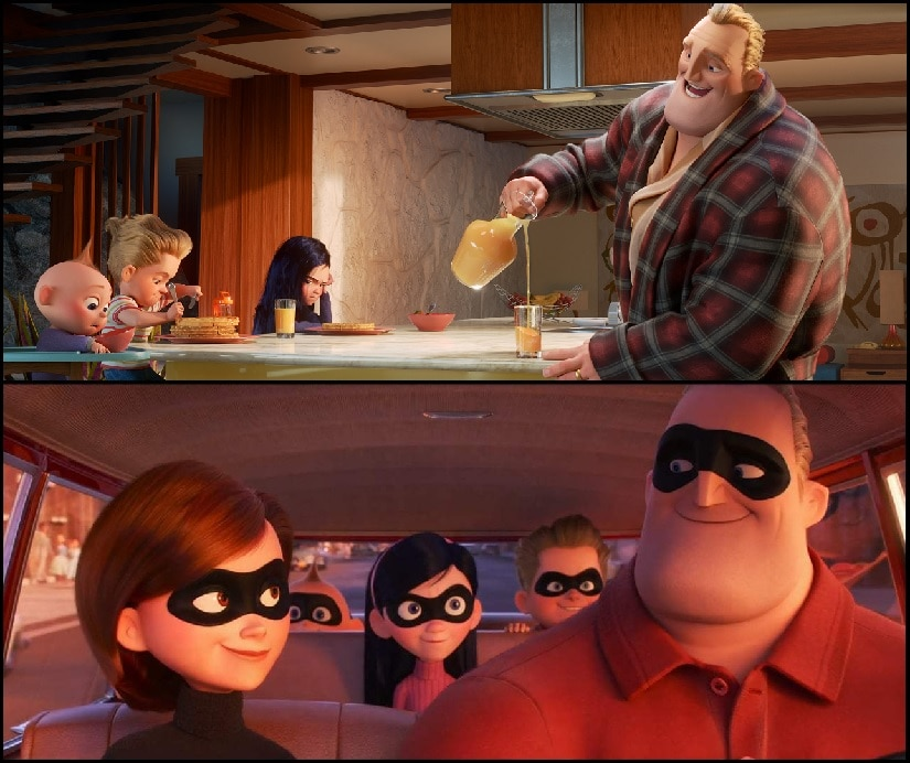 The Parrs adopt civilian identities and retreat to the suburbs in The Incredibles franchise. Disney