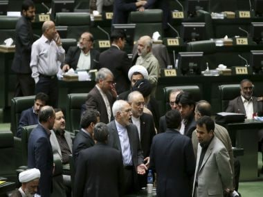 File image of Iranian ministers discussing a bill on Iran nuclear deal. AP