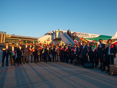Iran have become the first team to arrive for the FIFA World Cup 2018. Image courtesy: Twitter @FIFAWorldCup