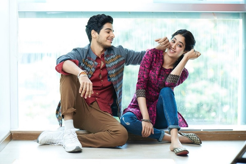 Ishaan Khatter and Janhvi Kapoor on the set of Dhadak. Image via Twitter