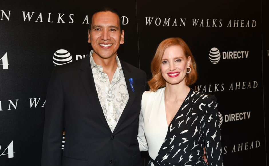 Michael Greyeyes and Jessica Chastain arrive at the screening of their film, Woman Walks Ahead. The Associated Press/ Evan Agostini