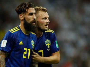 Sweden's Jimmy Durmaz (left) with teammate Sebastian Larsson. AFP