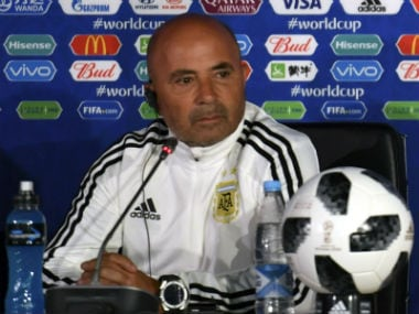 Argentina coach Jorge Sampaoli during a press conference. AFP