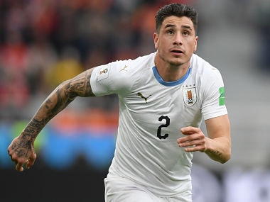 Uruguay's defender Jose Gimenez runs after the ball during 2018 World Cup Group A football match against Egypt. AFP